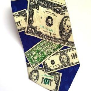 Nicole Miller Tie Blue Money Doesn't Grow on Trees